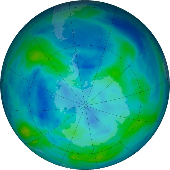 Antarctic ozone map for 18 April 1999
