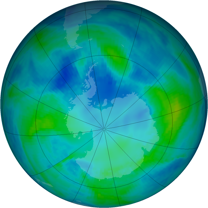 Antarctic ozone map for 23 April 1999