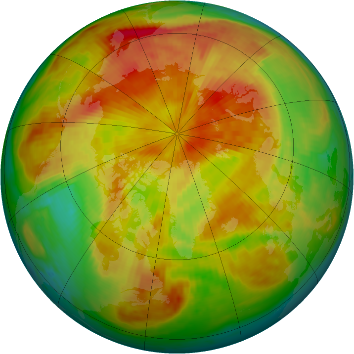 Arctic ozone map for 25 April 1999