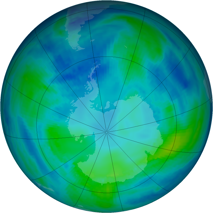Antarctic ozone map for 25 April 1999