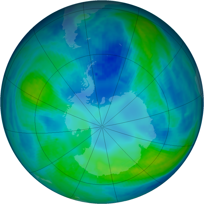 Antarctic ozone map for 27 April 1999