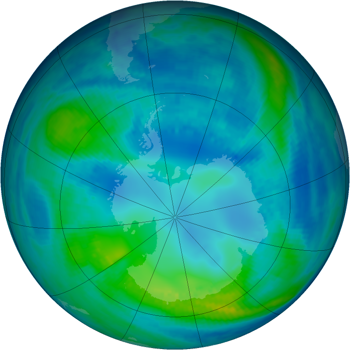 Antarctic ozone map for 28 April 1999