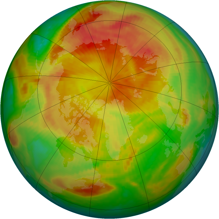 Arctic ozone map for 29 April 1999