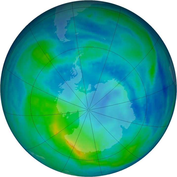 Antarctic ozone map for 29 April 1999