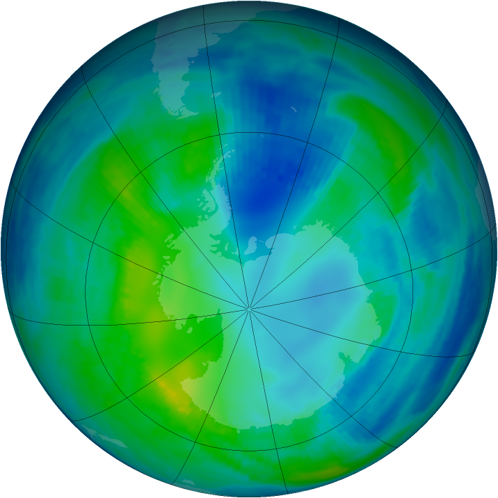 Antarctic ozone map for 01 May 1999