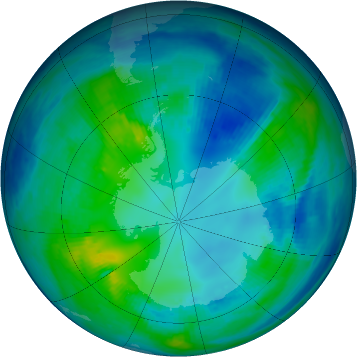 Antarctic ozone map for 02 May 1999