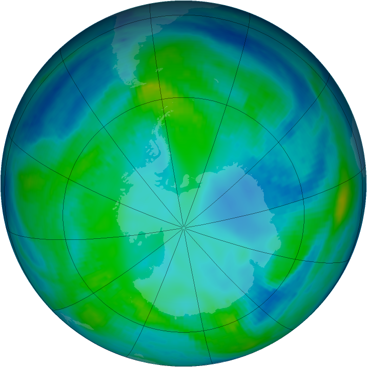 Antarctic ozone map for 05 May 1999
