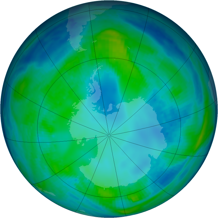 Antarctic ozone map for 06 May 1999