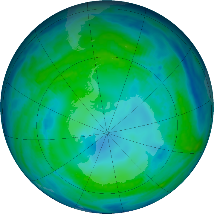 Antarctic ozone map for 11 May 1999