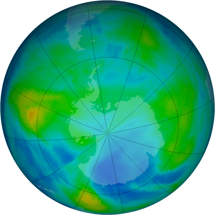 Antarctic ozone map for 14 May 1999