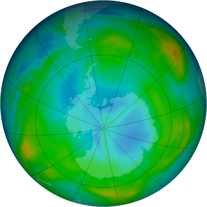 Antarctic ozone map for 28 June 1999