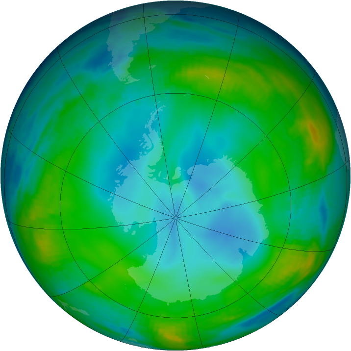 Antarctic ozone map for 29 June 1999
