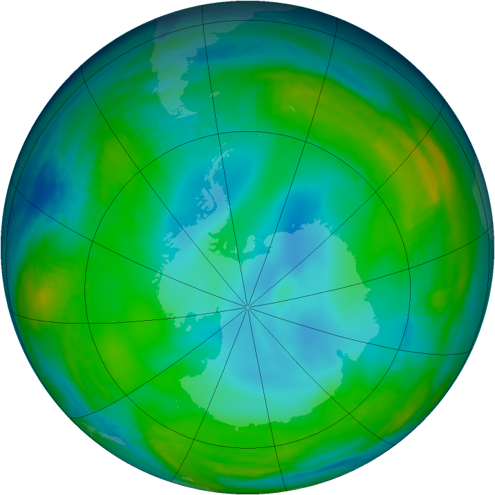 Antarctic ozone map for 30 June 1999