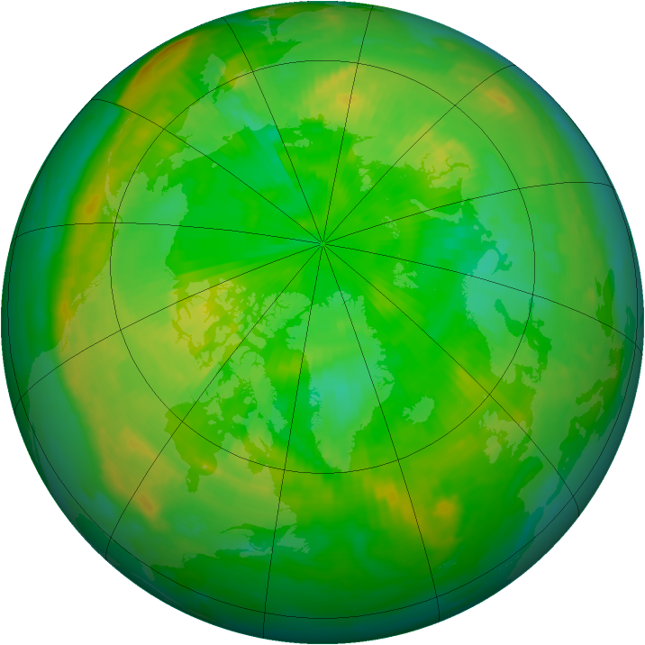 Arctic ozone map for 01 July 1999