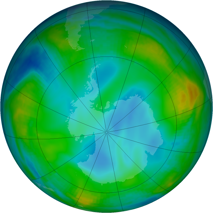 Antarctic ozone map for 01 July 1999