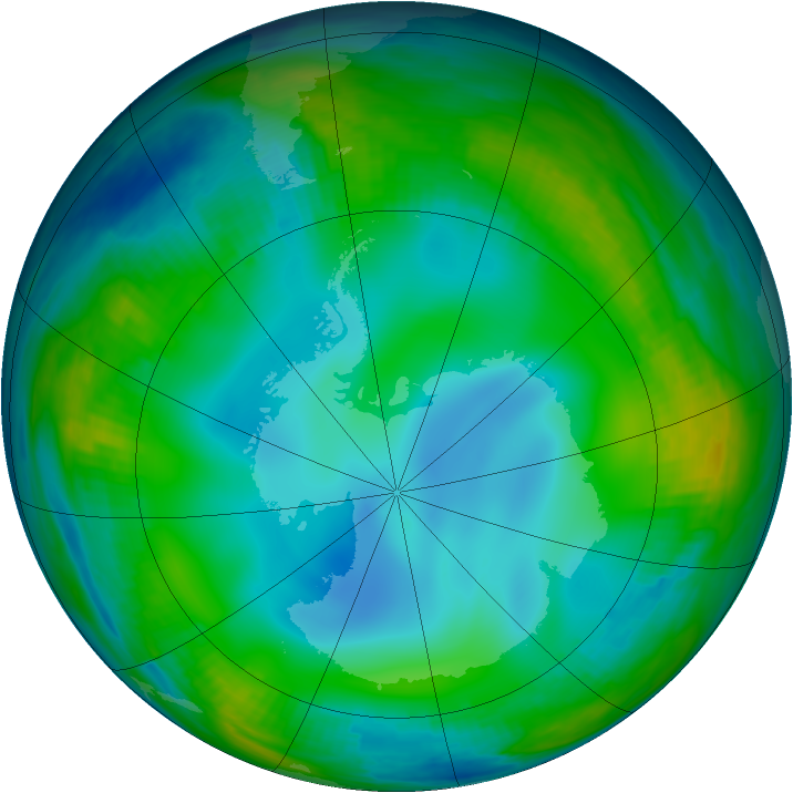 Antarctic ozone map for 02 July 1999