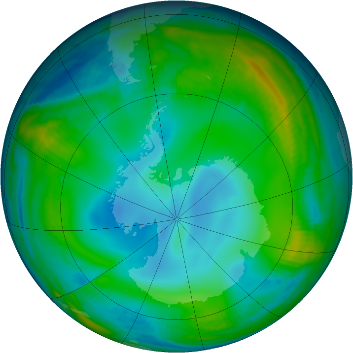 Antarctic ozone map for 03 July 1999
