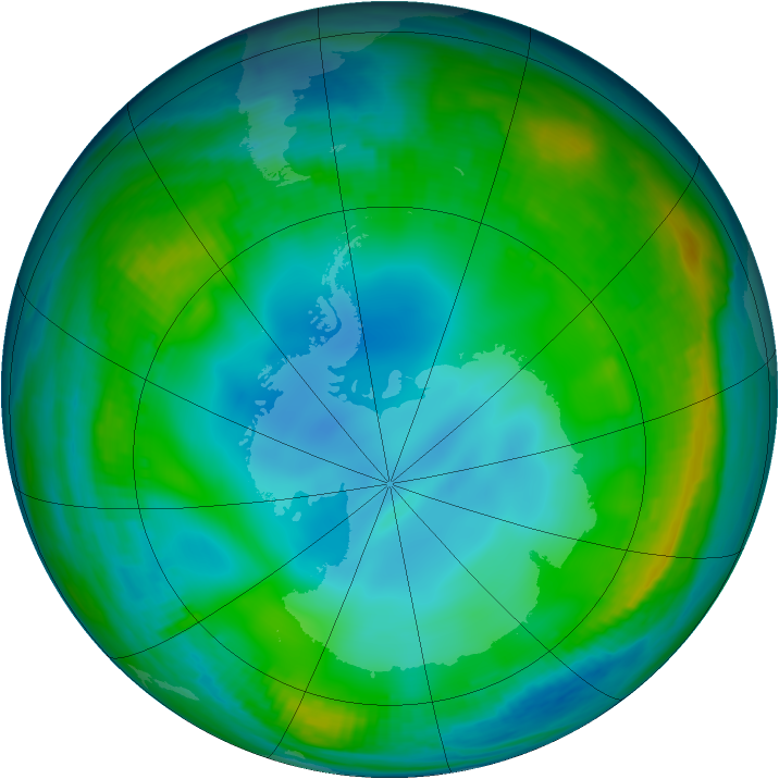 Antarctic ozone map for 05 July 1999