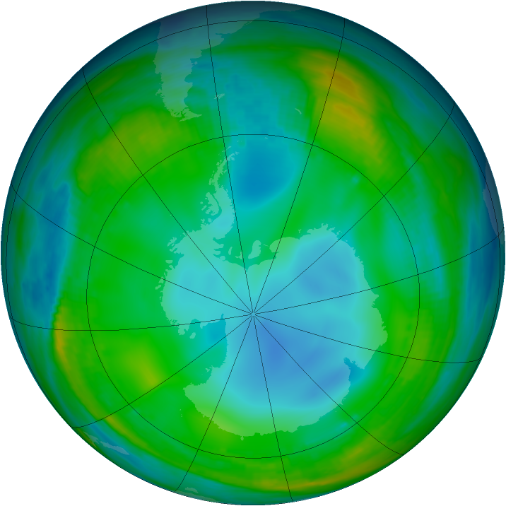 Antarctic ozone map for 09 July 1999