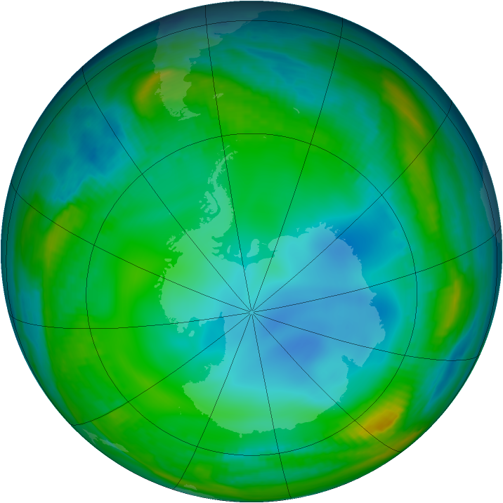 Antarctic ozone map for 11 July 1999