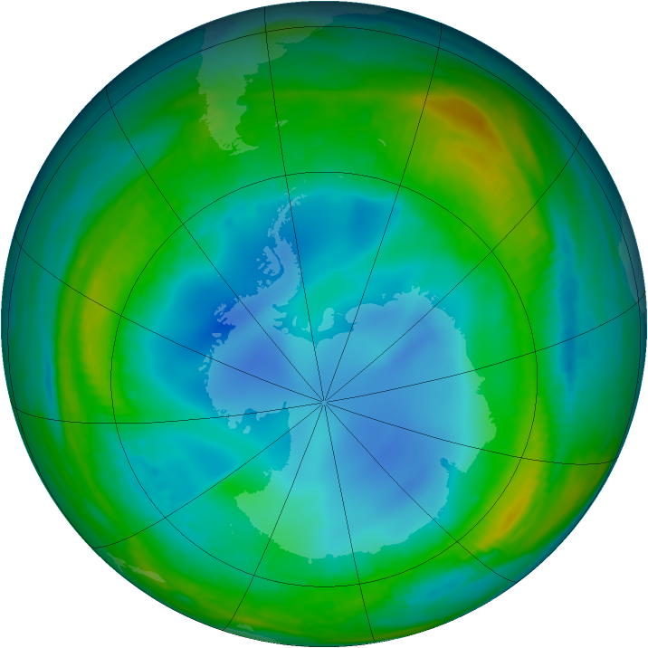 Antarctic ozone map for 20 July 1999