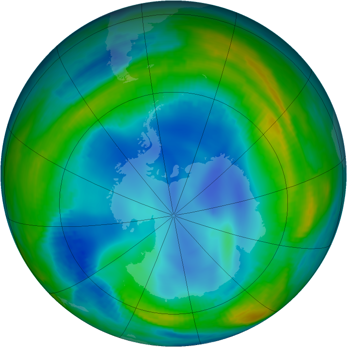Antarctic ozone map for 24 July 1999