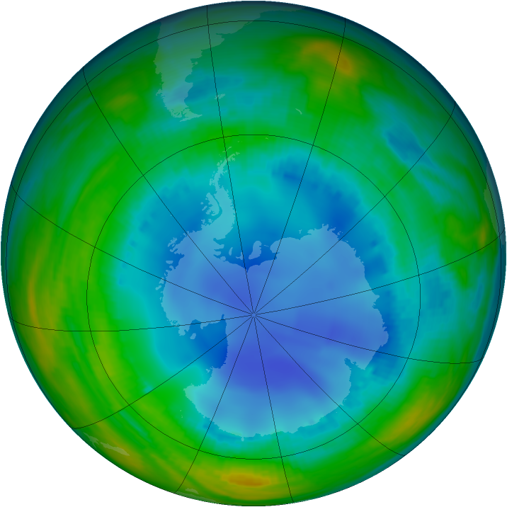 Antarctic ozone map for 03 August 1999