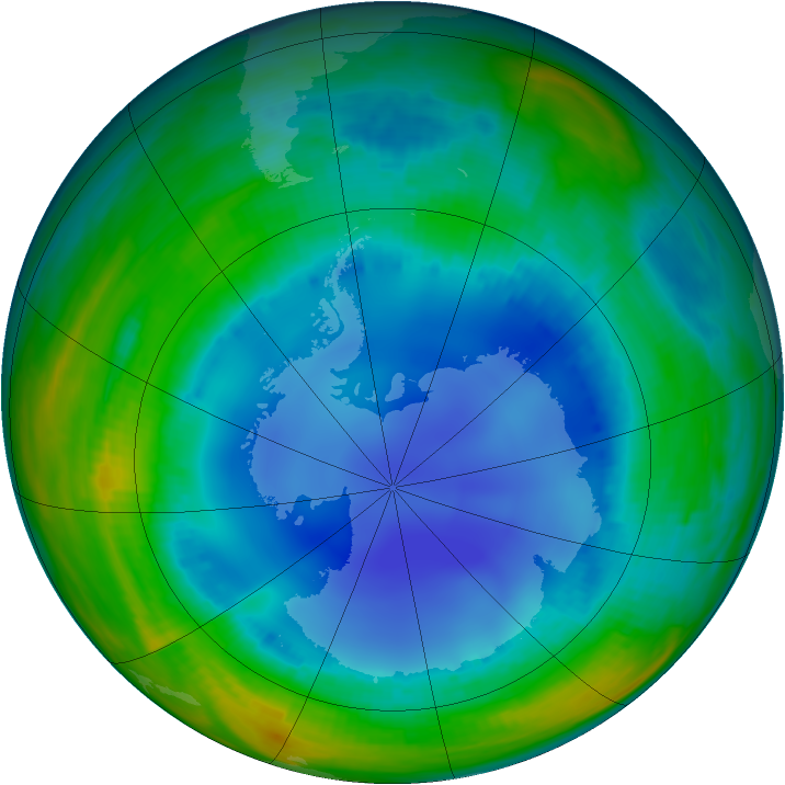 Antarctic ozone map for 04 August 1999