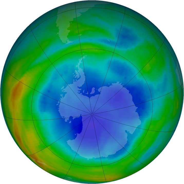 Antarctic ozone map for 06 August 1999
