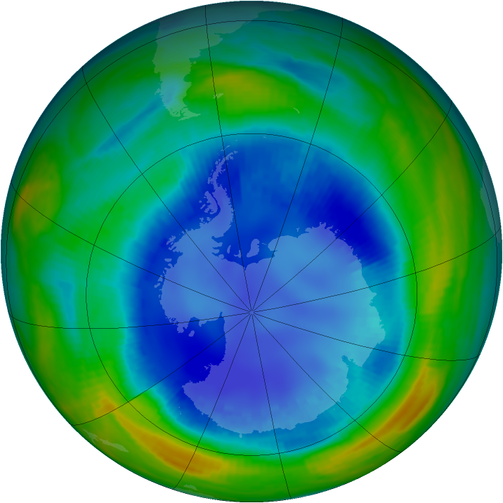 Antarctic ozone map for 21 August 1999