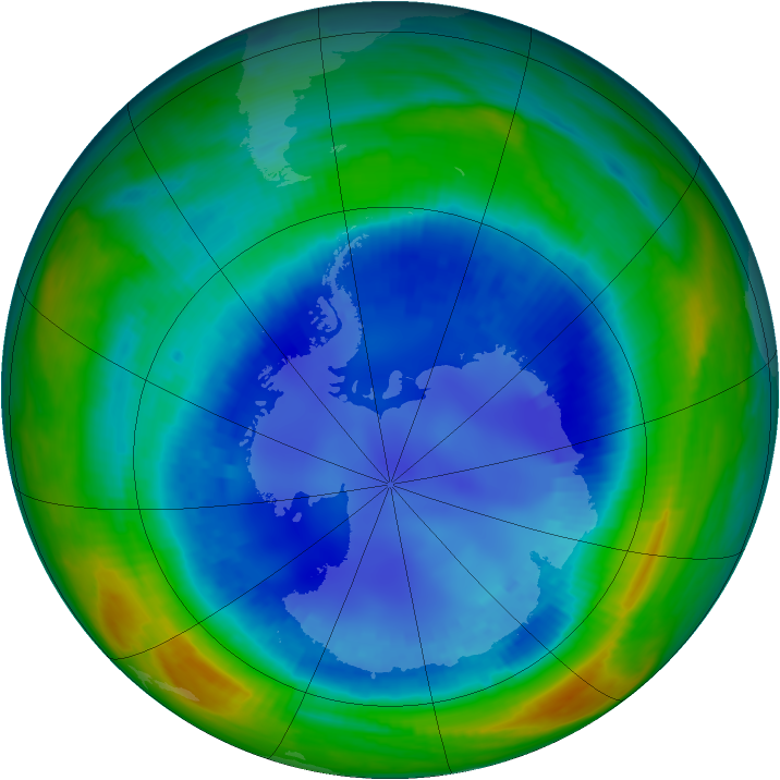 Antarctic ozone map for 22 August 1999
