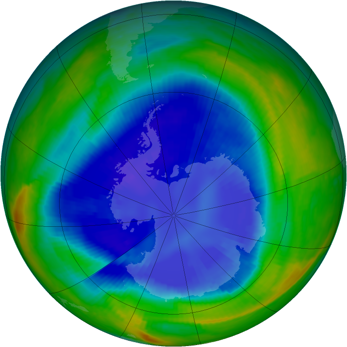 Antarctic ozone map for 04 September 1999