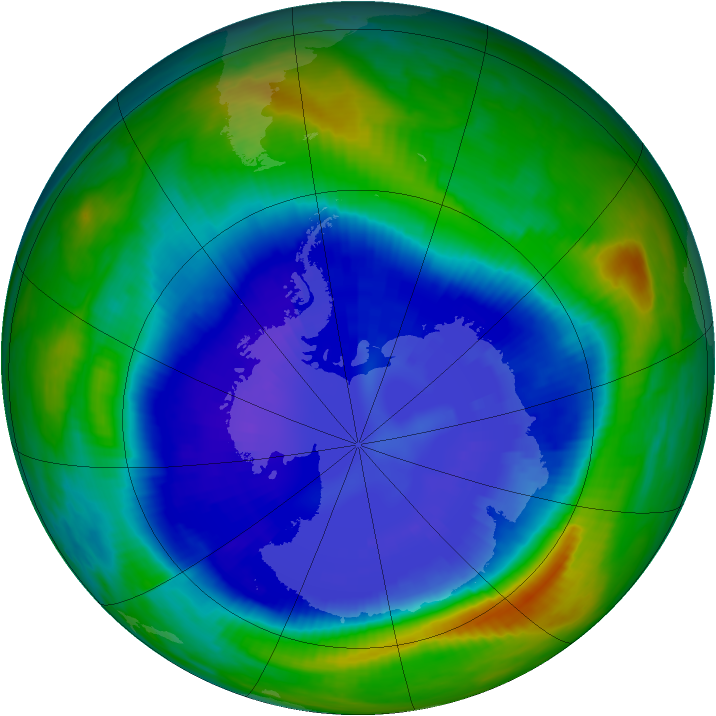 Antarctic ozone map for 08 September 1999