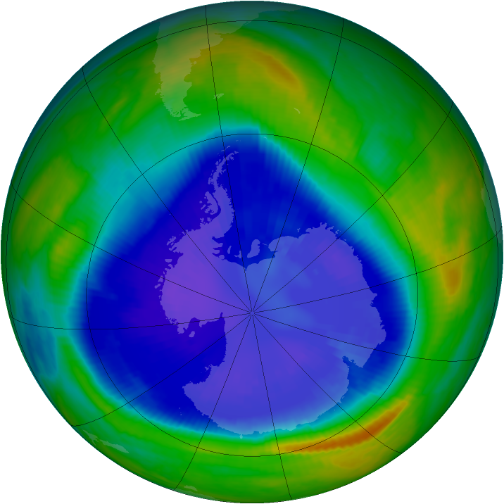 Antarctic ozone map for 09 September 1999