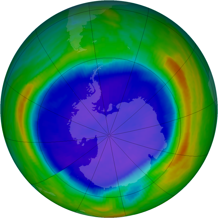 Antarctic ozone map for 15 September 1999