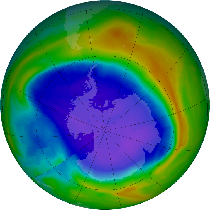 Antarctic ozone map for 19 September 1999