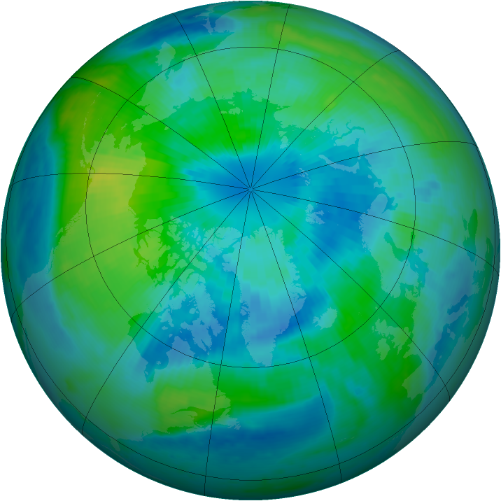 Arctic ozone map for 25 September 1999