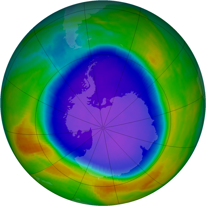 Antarctic ozone map for 28 September 1999
