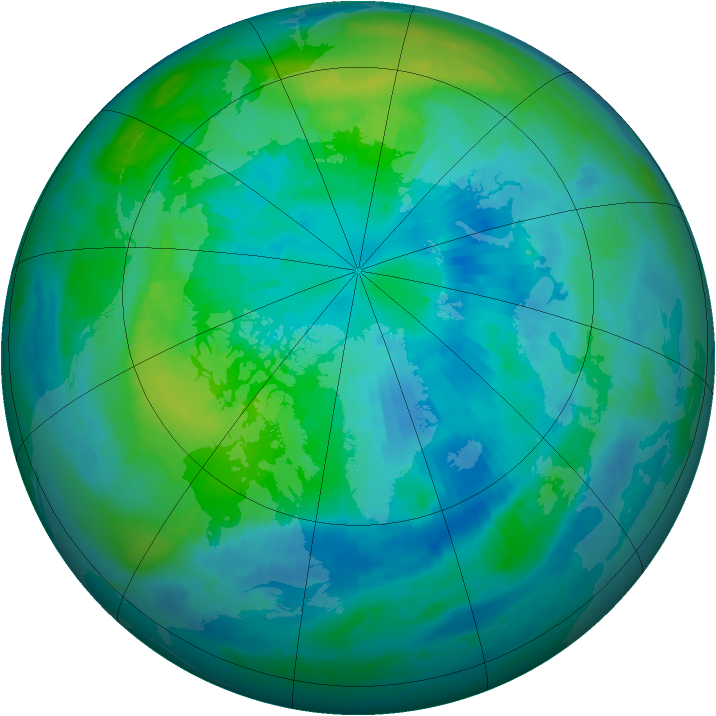 Arctic ozone map for 29 September 1999