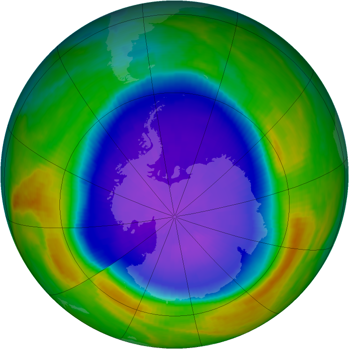 Antarctic ozone map for 29 September 1999