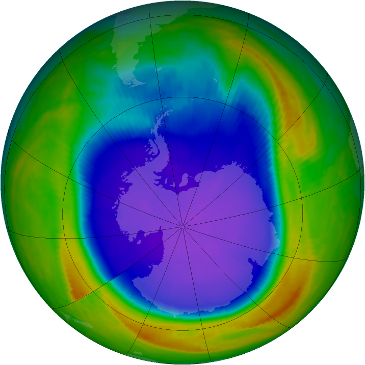 Antarctic ozone map for 04 October 1999