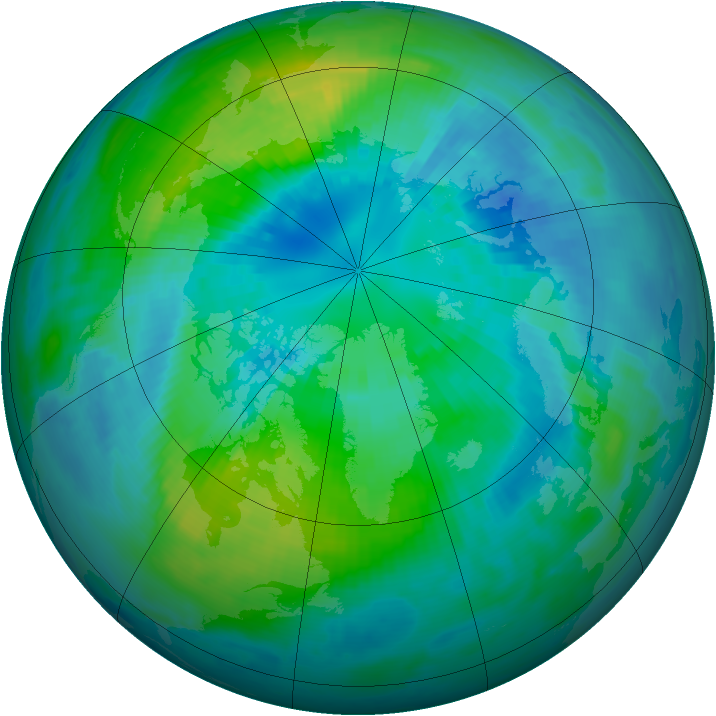 Arctic ozone map for 05 October 1999
