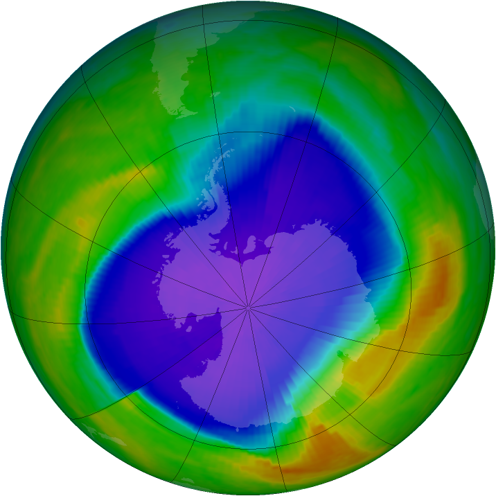 Antarctic ozone map for 06 October 1999