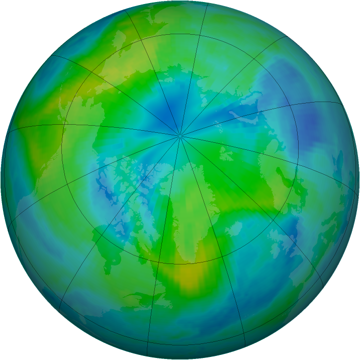 Arctic ozone map for 09 October 1999