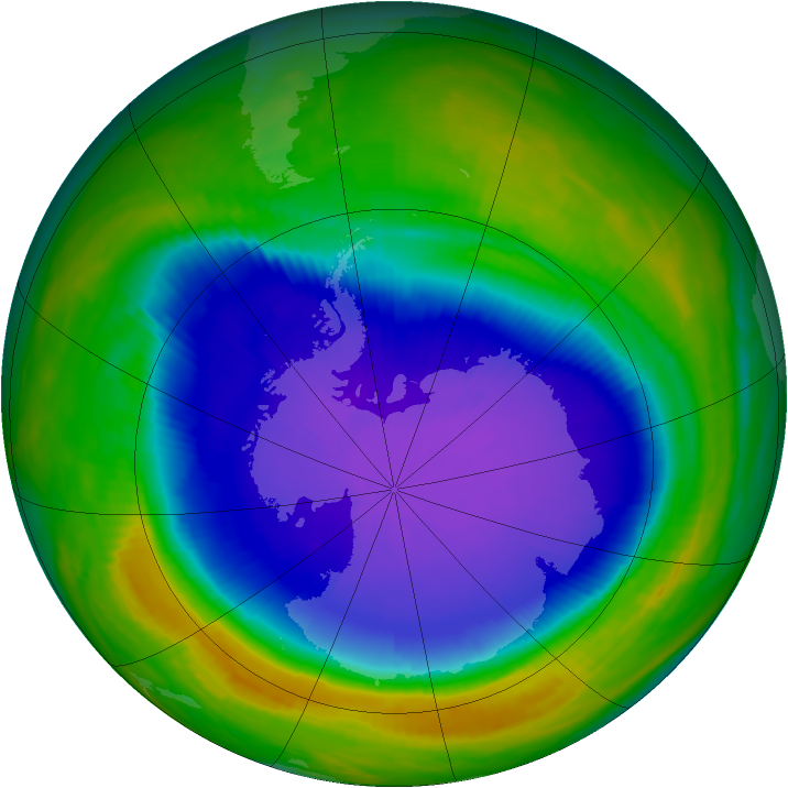 Antarctic ozone map for 10 October 1999