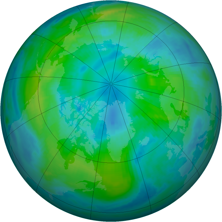 Arctic ozone map for 13 October 1999