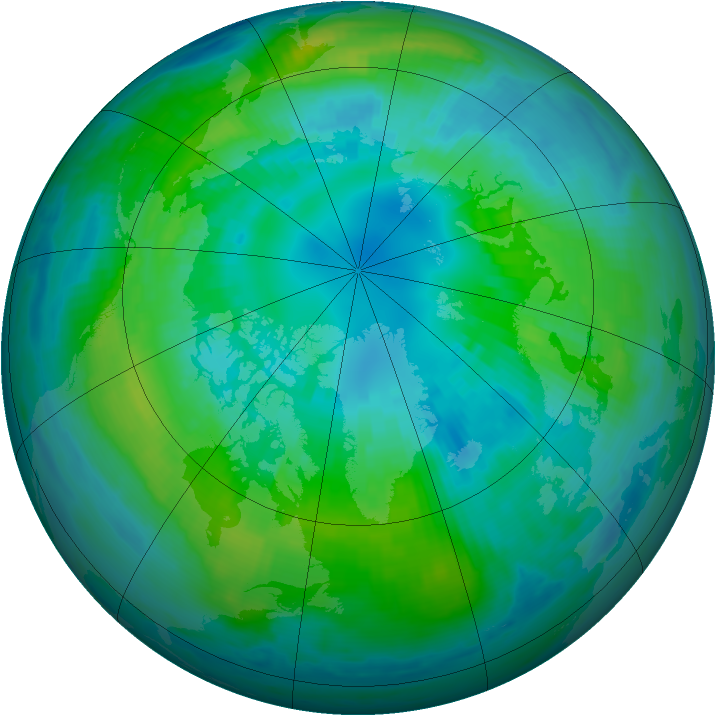 Arctic ozone map for 14 October 1999