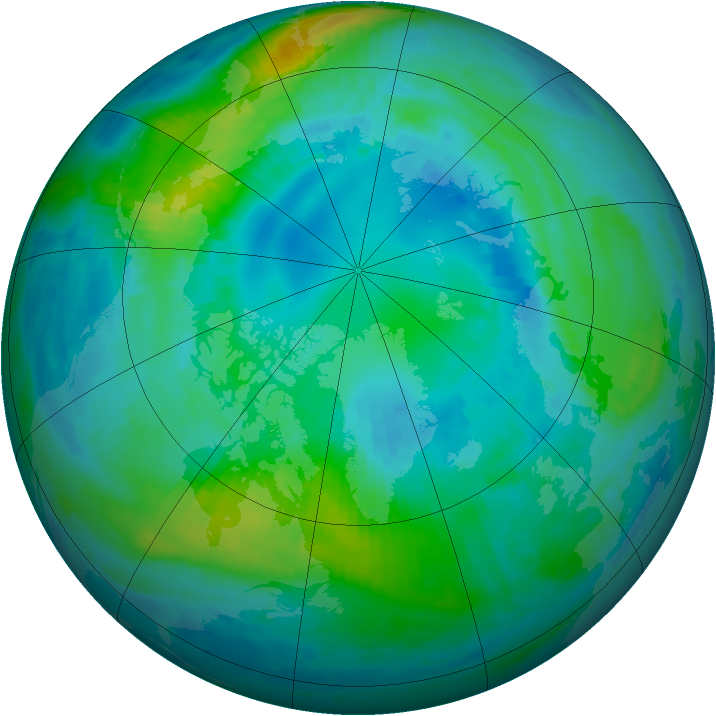 Arctic ozone map for 17 October 1999