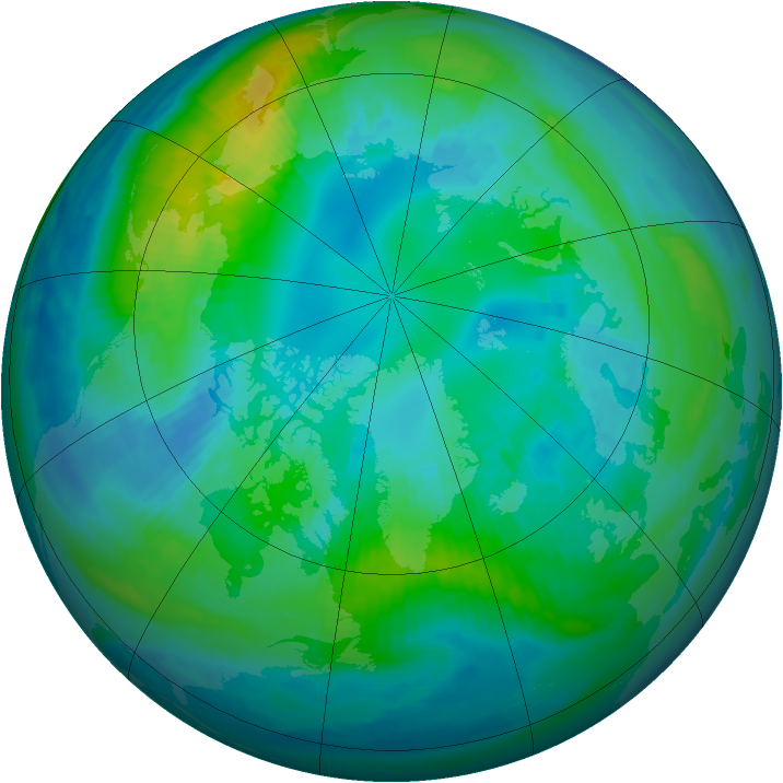 Arctic ozone map for 19 October 1999