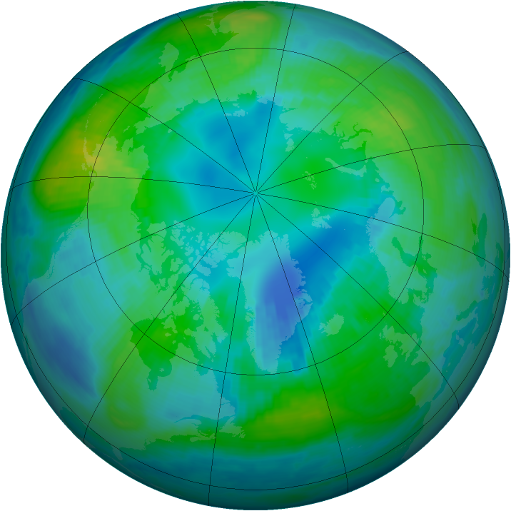 Arctic ozone map for 22 October 1999